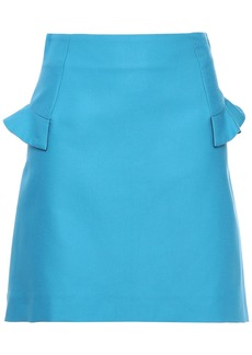 Sandro Woman Oro Ruffle-trimmed Cotton-blend Cady Mini Skirt Light Blue