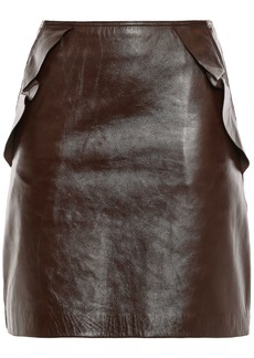 Sandro Woman Elgantier Ruffle-trimmed Leather Mini Skirt Chocolate