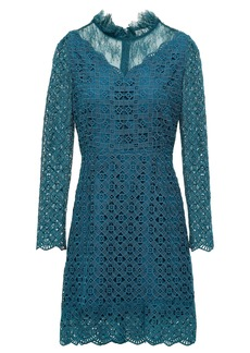 Sandro Woman Bartsie Paneled Scalloped Macramé Lace Mini Dress Teal