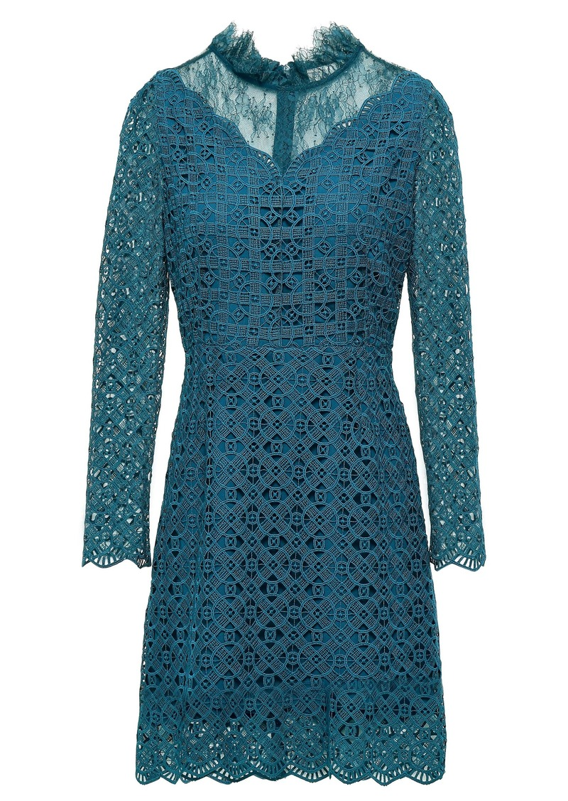Sandro Woman Bartsie Paneled Scalloped Macramé Lace Mini Dress Teal