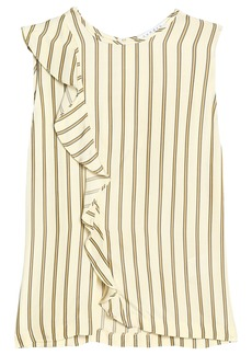 Sandro Woman Ruffle-trimmed Striped Crepe De Chine Top Beige