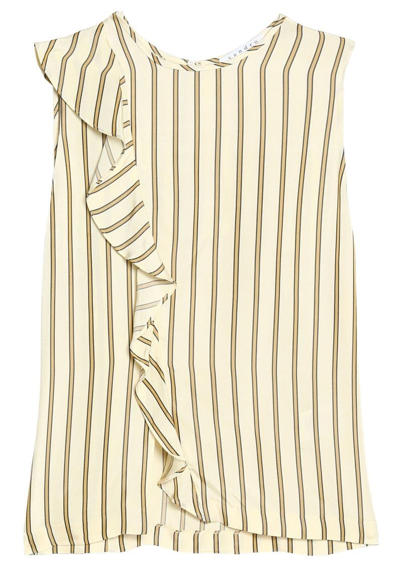 Sandro Woman Ruffle-trimmed Striped Crepe De Chine Top Beige