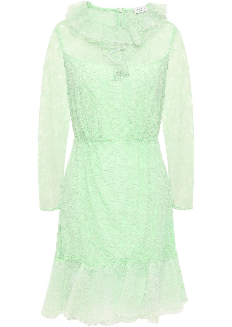 Sandro Woman Ruffled Corded Lace Mini Dress Mint