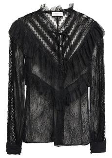 Sandro Woman Ruffled Lace Blouse Black