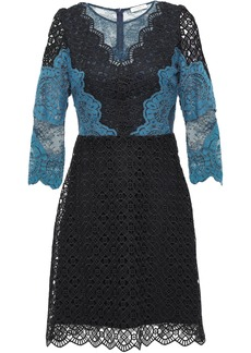 Sandro Woman Belladone Paneled Scalloped Lace Mini Dress Black
