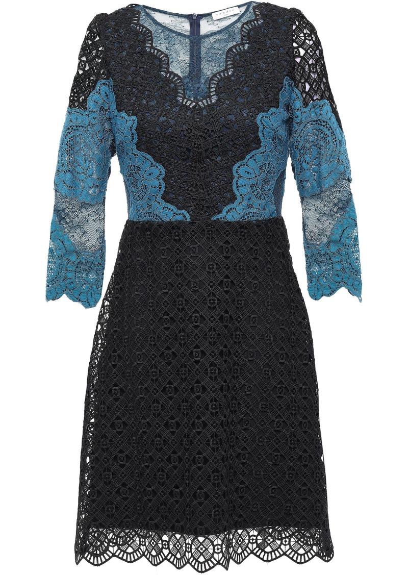 Sandro Woman Belladone Paneled Scalloped Lace Mini Dress Black