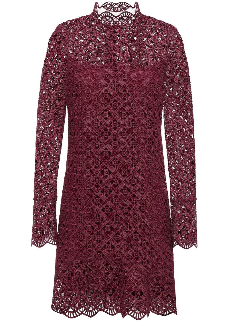 Sandro Woman Scalloped Guipure Lace Mini Dress Merlot