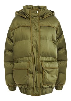 Sandro Woman Sean Canvas-trimmed Quilted Shell Hooded Jacket Sage Green