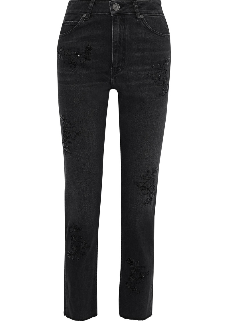Sandro Woman Sequin-embellished High-rise Straight-leg Pants Black