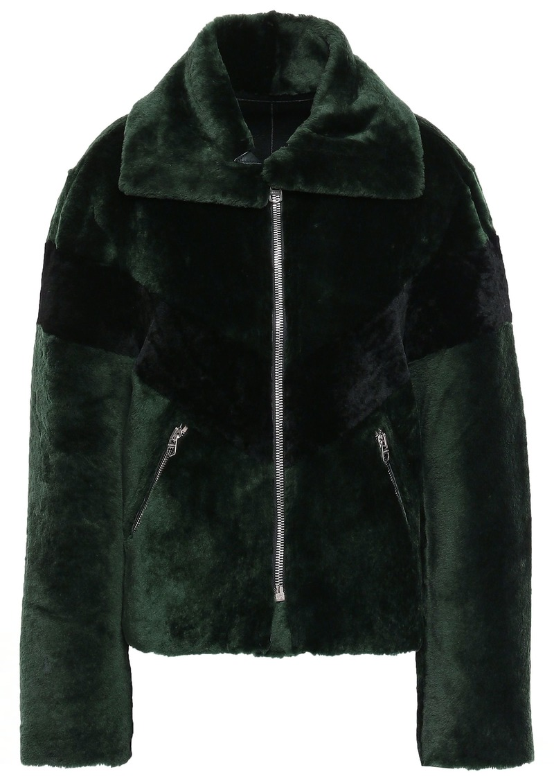 Sandro Woman Shearling Jacket Dark Green
