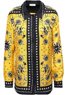 Sandro Woman Printed Silk-twill Shirt Yellow