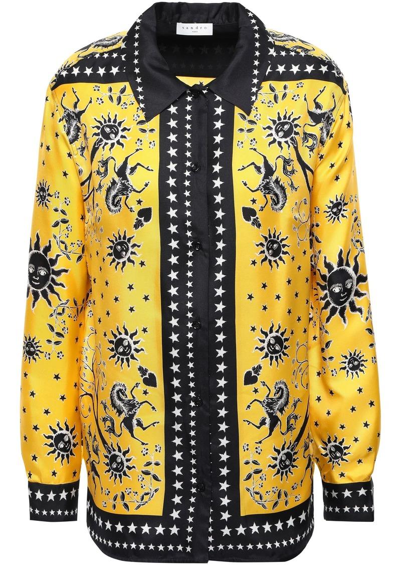 Sandro Woman Printed Silk-twill Shirt Yellow