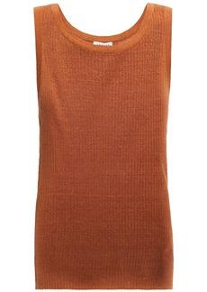 Sandro Woman Sitan Ribbed Linen-blend Tank Tan