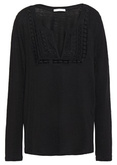 Sandro Woman Solune Broderie Anglaise-paneled Linen-jersey Top Black