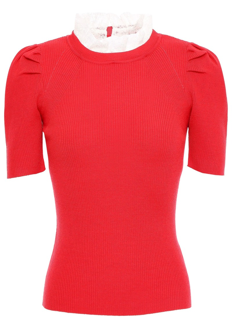 Sandro Woman Sphynx Lace-trimmed Ribbed-knit Top Red