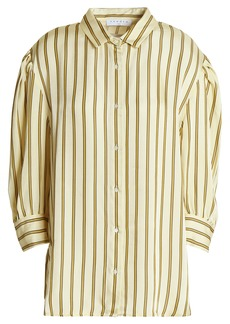 Sandro Woman Striped Satin-twill Shirt Beige