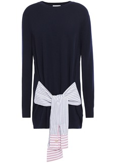 Sandro Woman Suzanne Poplin-trimmed Knotted Wool And Cashmere-blend Sweater Midnight Blue