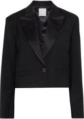 Sandro Woman Tery Cropped Satin-trimmed Twill Blazer Black