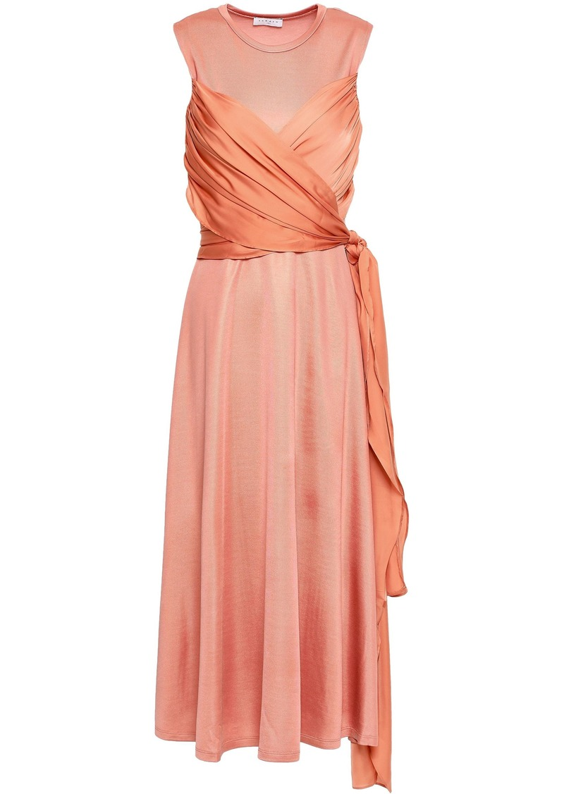 Sandro Woman Trudy Stretch-knit And Voile Midi Dress Peach