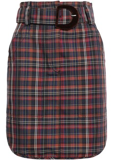 Sandro Woman Velvet-trimmed Checked Woven Mini Skirt Brown