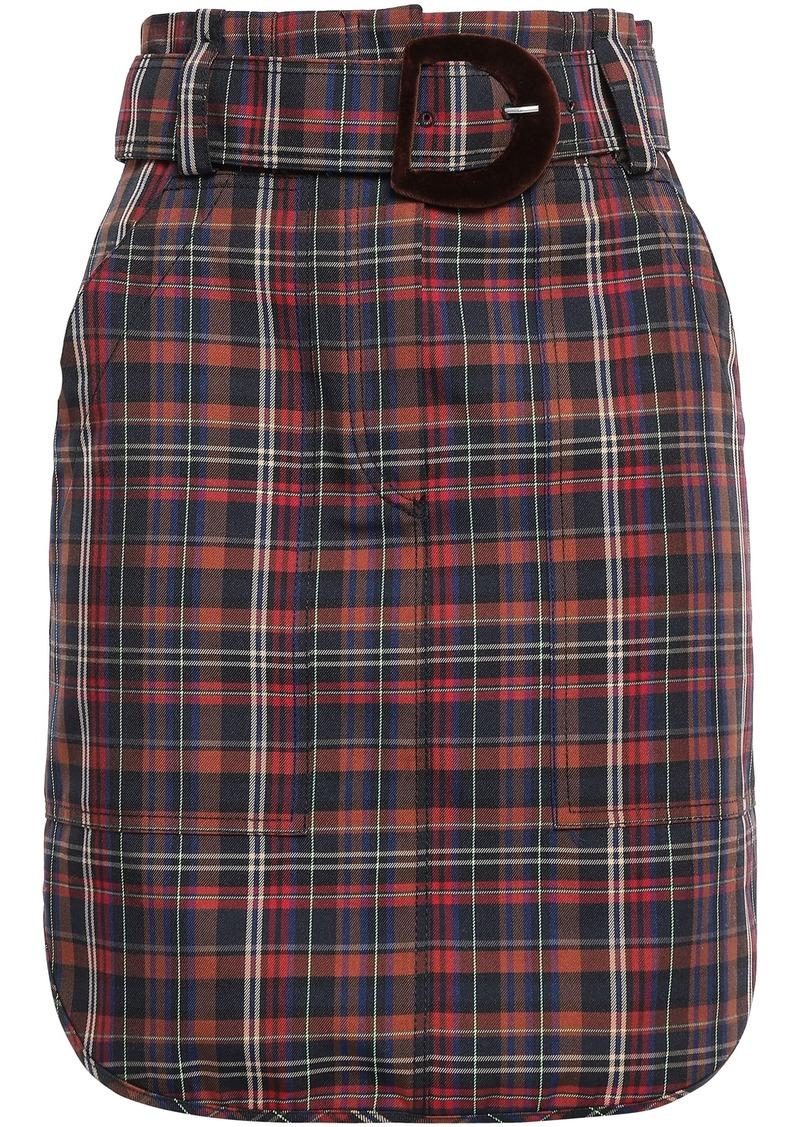 Sandro Woman Velvet-trimmed Checked Woven Mini Skirt Brown