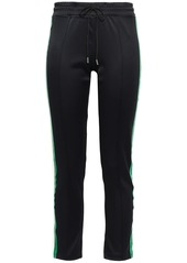 Sandro Woman Sky Cropped Velvet-trimmed Scuba Track Pants Black