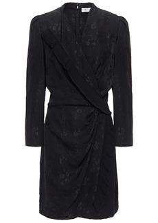 Sandro Woman Walls Wrap-effect Pleated Floral-jacquard Mini Dress Black