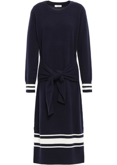 Sandro Woman Wool And Cashmere-blend Midi Dress Navy