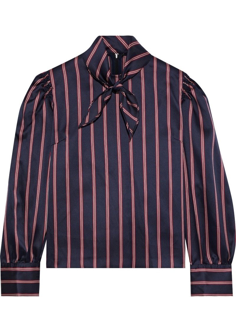 Sandro Woman Zoe Tie-neck Striped Satin-twill Blouse Navy