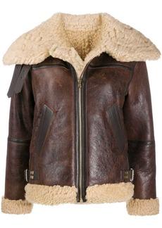 Sandro shearling trim zip-front jacket