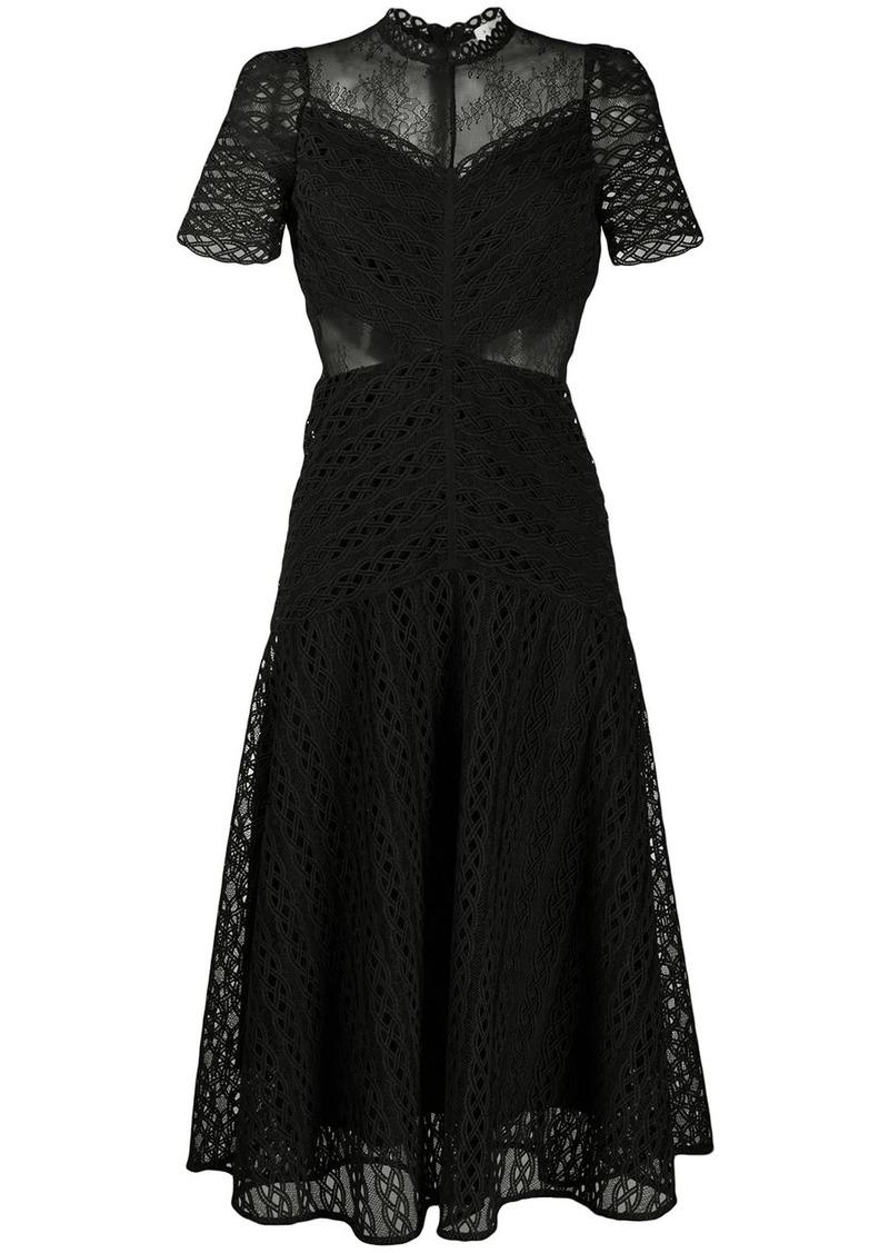 Sandro sheer panel lace midi dress