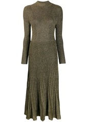 Sandro shimmer long pleated dress