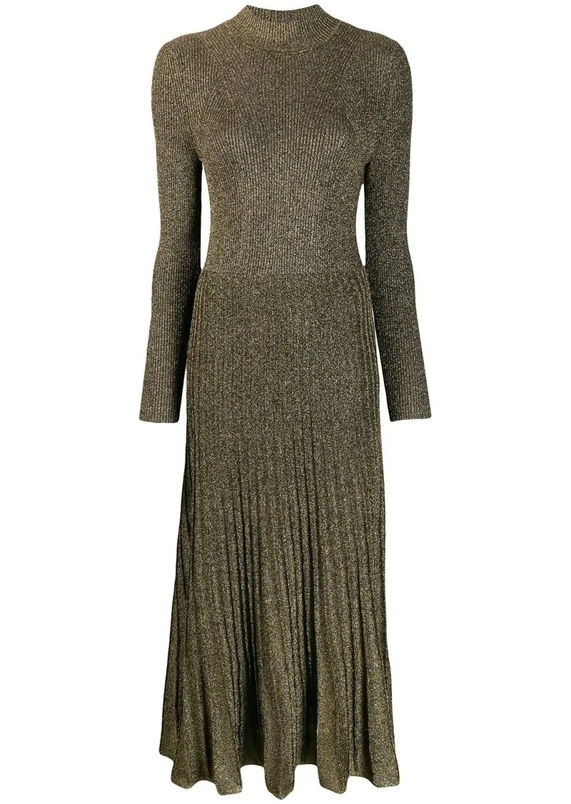 shimmer long pleated dress