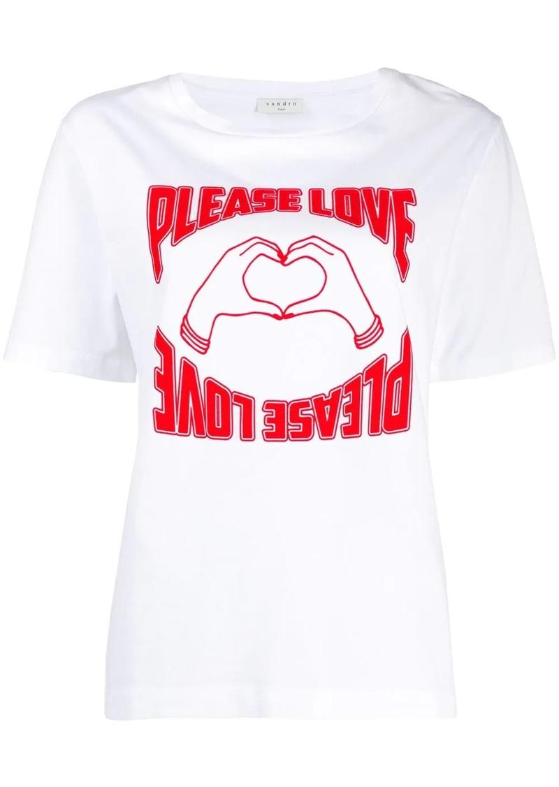Sandro short sleeve Please Love print T-shirt