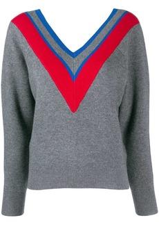 Sandro stripe detail V-neck jumper