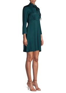 Sandro Studded Tie-Neck Fit-&-Flare Dress
