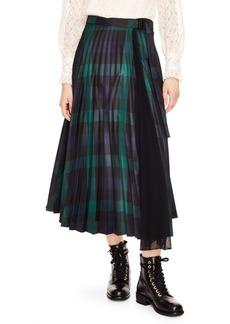 Sandro Sunshine Plaid Midi Skirt