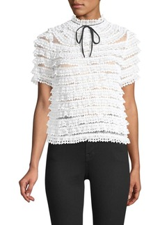 Sandro Tiered Lace Tie-Neck Blouse