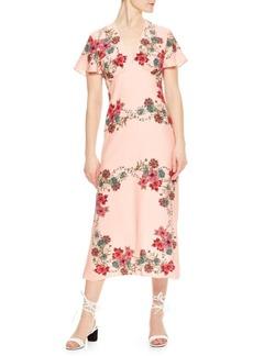 Sandro Tissia Floral Crepe Dress