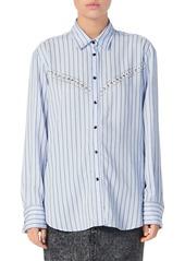 Sandro Viala Embellished Striped Shirt