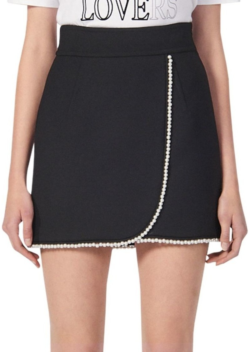 Sandro Vicky Embellished Wrap Mini Skirt