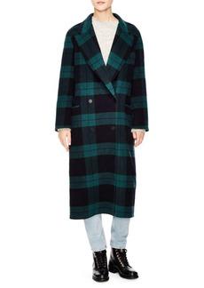 Sandro Windsor Tartan Pensée Wool Cotton Coat