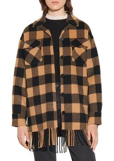 Women's Sandro Buffalo Plaid Fringe Hem Wool Blend Jacket