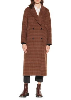 Women's Sandro Check Wool Blend Coat