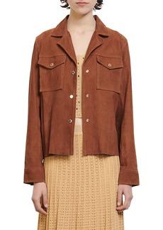 Women's Sandro Goatskin Suede Shirt Jacket