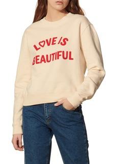 Women's Sandro Love Is Beautiful Embroidered Sweatshirt