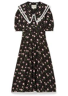Sandy Liang Fran Lace-trimmed Printed Silk Crepe De Chine Midi Dress