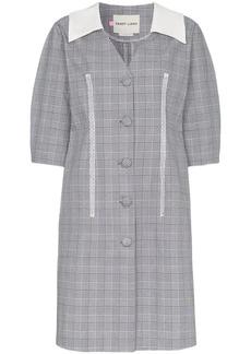Sandy Liang Leo V-neck check print cotton dress