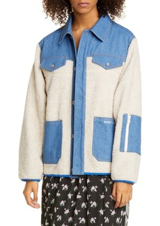 Sandy Liang Dorne Denim Panel Faux Fur Jacket