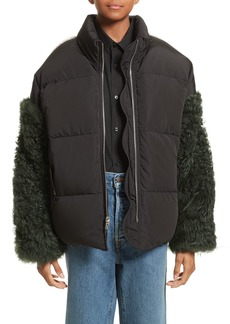 Sandy Liang Eldridge Puffer Coat with Genuine Shearling Sleeves